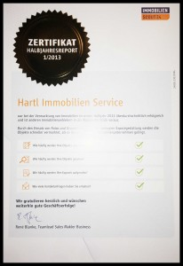 Zertifikat von Immobilienscout24 für Hartl Immobilien Service